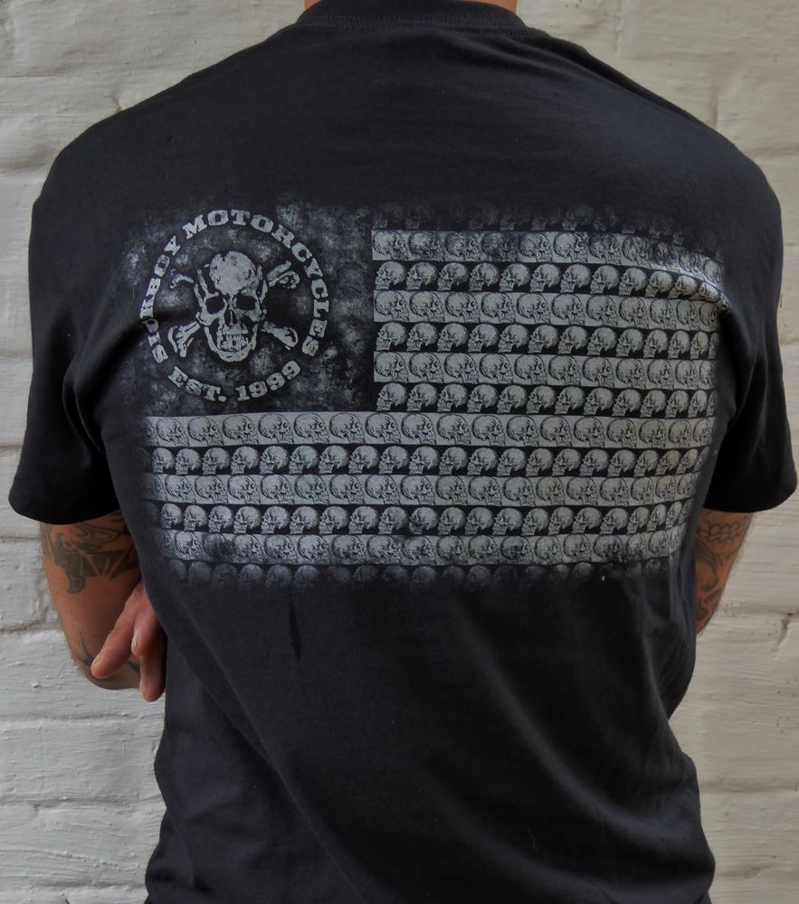 SICK BOY MOTORCYCLES MEN'S BLACK SHORT SLEEVE T-SHIRT WITH FLAG
