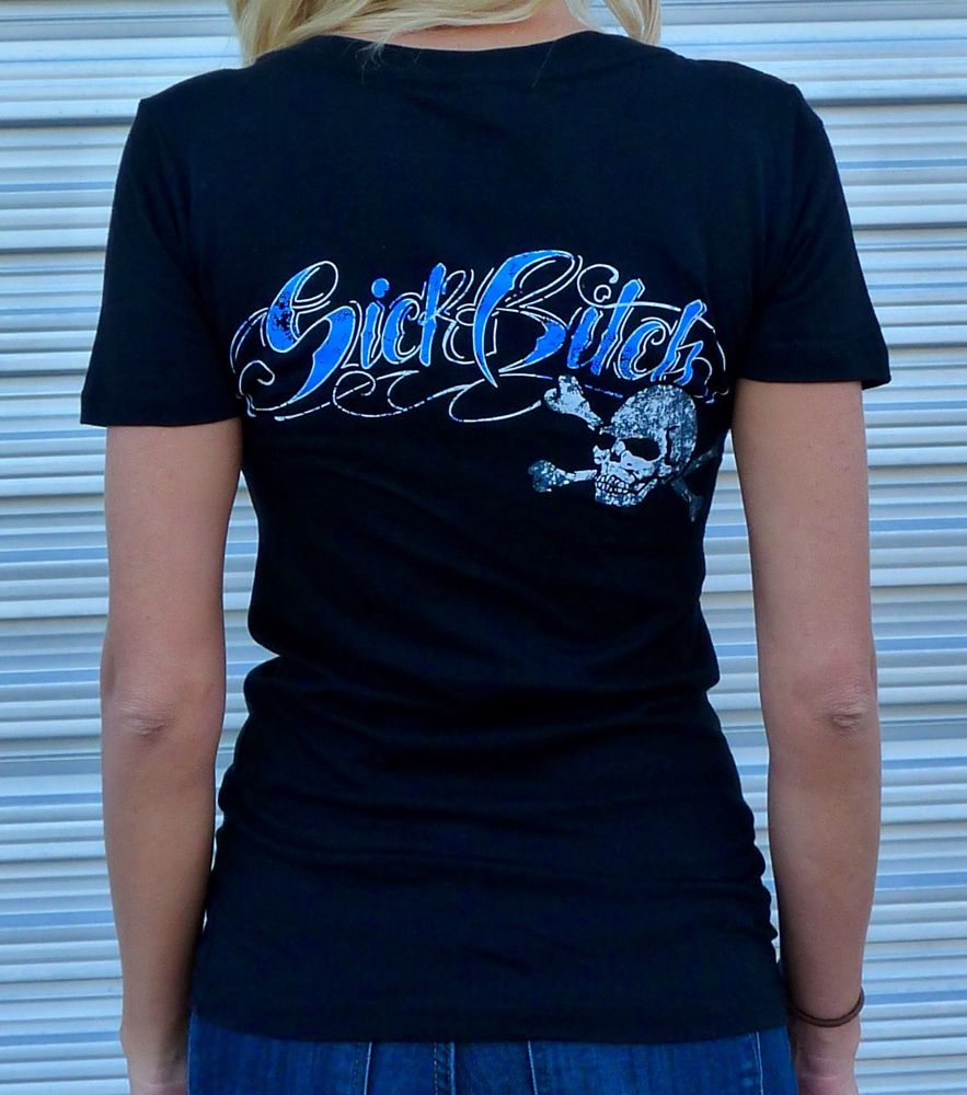 Sick Bitch Motorcycles Women's Black V-Neck Skull T-shirt