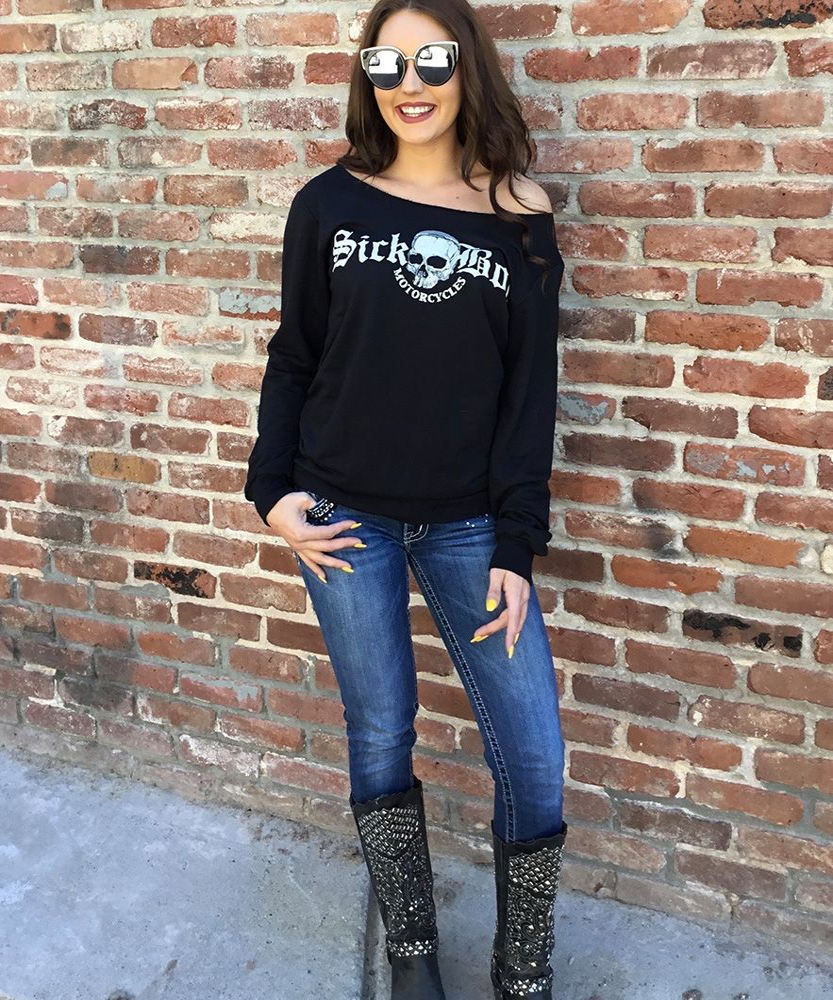 Ladies black dizzy boat neck sweatshirt