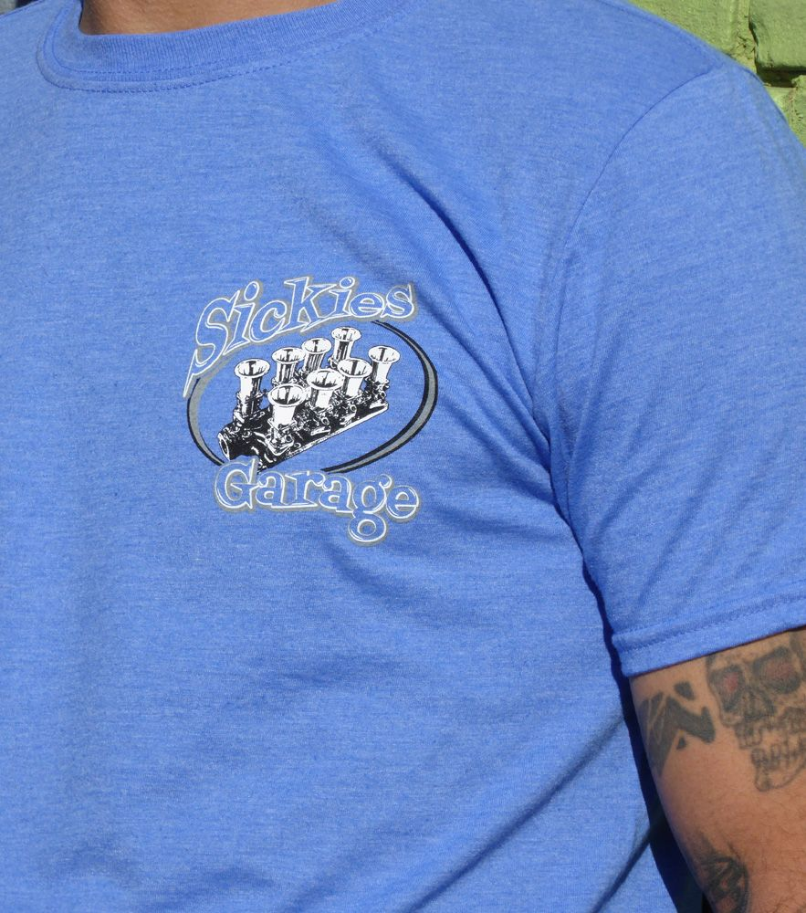 Sickies Garage Royal Heather Blue Injection Specialty T-shirt