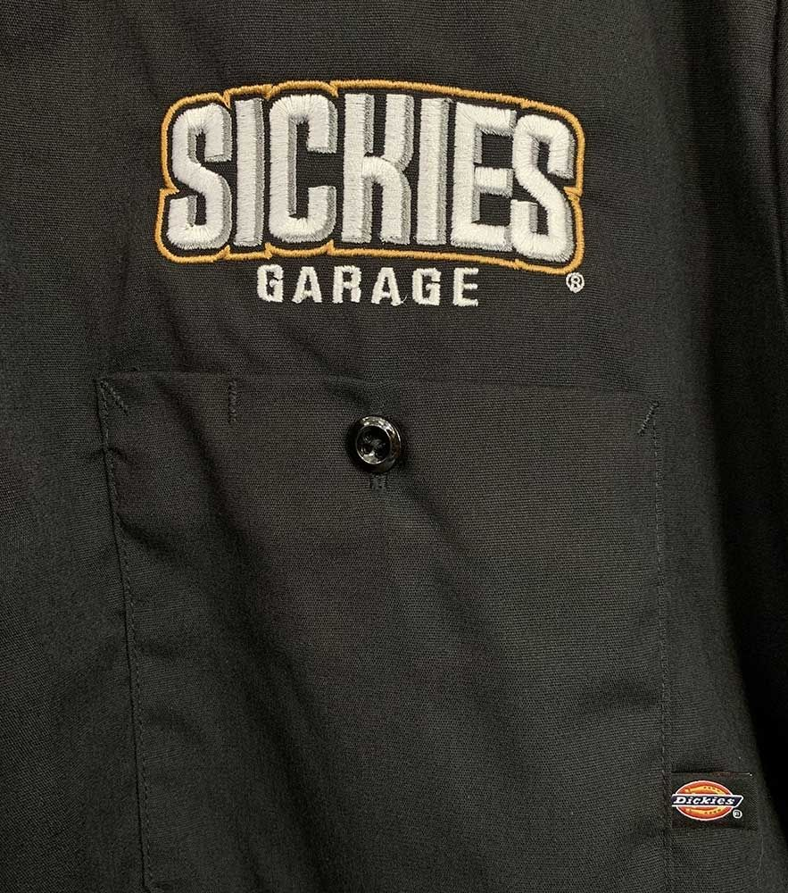 "Sickies Garage Bustin Nuts Since 2004 ""Dickies"" Brand Button Up Work Shirt."
