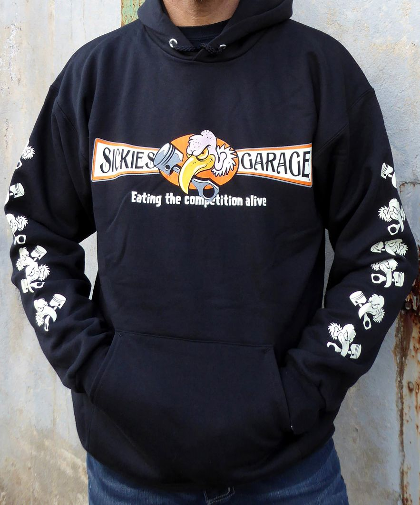 Sickies Garage Men's Black Vulture Hooded Sweatshirt