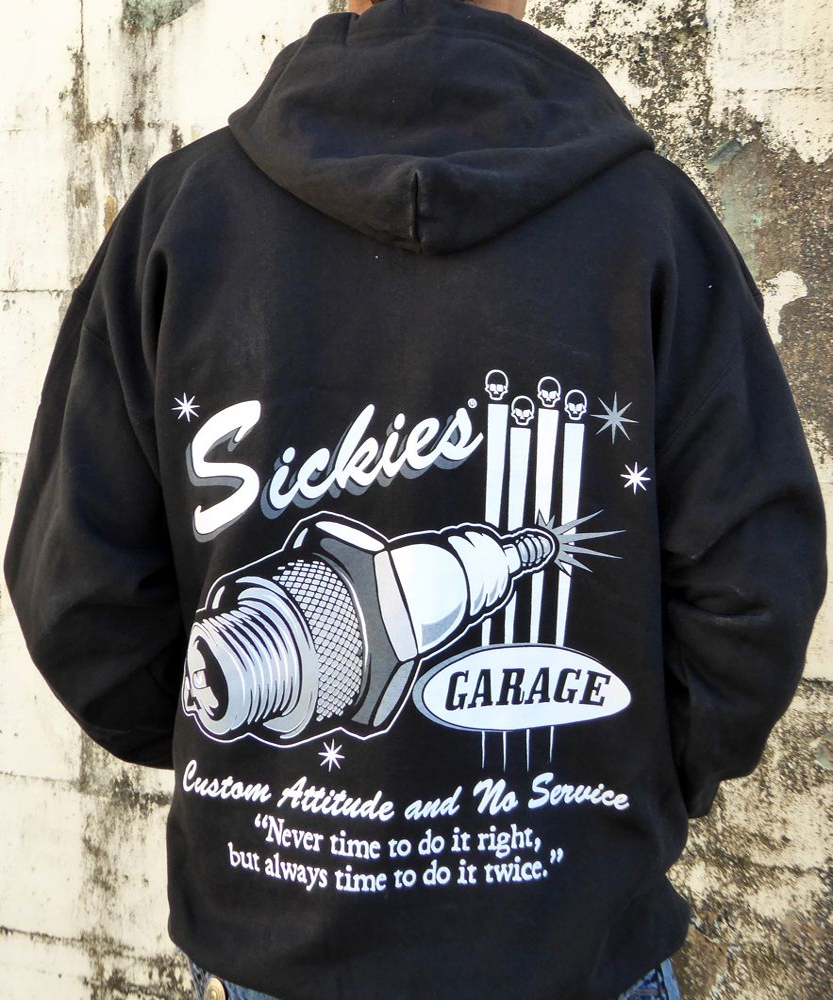 Sickies Garage Men's Black ZIPPERED Hooded Sweatshirt