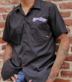 Sick Boy Motorcycles Black Bandana Skull Workshirt