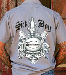 Sick Boy Grey Spark Plug Men's Work Shirt
