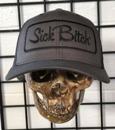 Ladies Sick Bitch Grey Snap Back Adjustable Hat - front