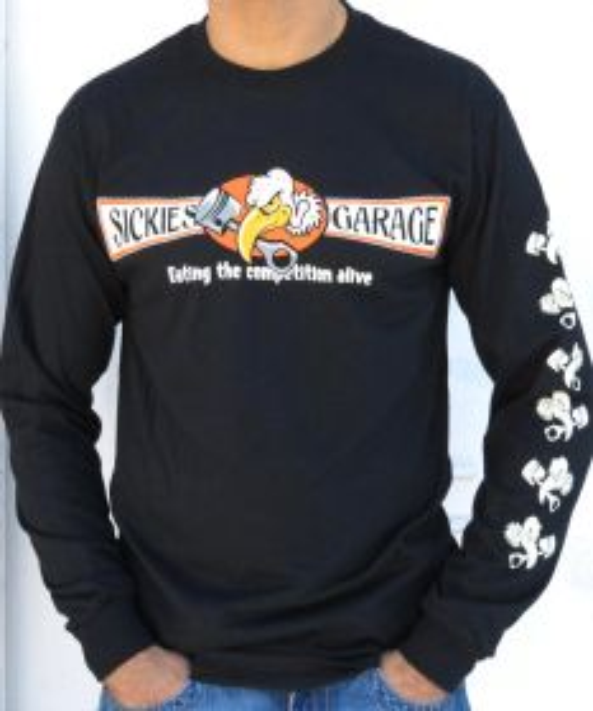 Sickies Garage Men's Biker Black Vulture Long Sleeve T-shirt